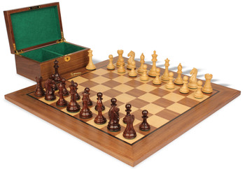 "Fierce Knight Staunton Chess Set in Rosewood & Boxwood with Walnut Board & Box - 4"" King"