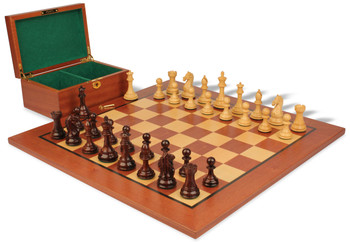 "Fierce Knight Staunton Chess Set in Rosewood & Boxwood with Mahogany Board & Box - 4"" King"