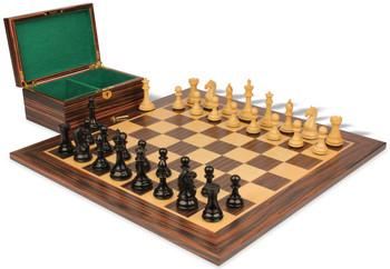 "Fierce Knight Staunton Chess Set in Ebony & Boxwood Set with Macassar Board & Box - 4"" King"