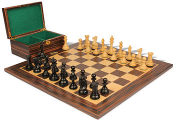 "New Exclusive Staunton Chess Set in Ebonized Boxwood & Boxwood with Macassar Ebony Board & Box - 3"" King"