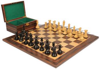 "New Exclusive Staunton Chess Set in Ebony & Boxwood with Macassar Ebony Board & Box  - 4"" King"