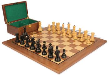 "Yugoslavia Staunton Chess Set in Ebonized Boxwood & Boxwood with Walnut Board & Box - 3.25"" King"
