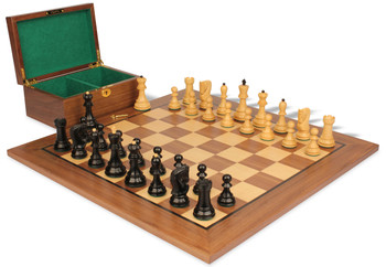 "Yugoslavia Staunton Chess Set in Ebonized Boxwood & Boxwood with Walnut Board & Box - 3.875"" King"