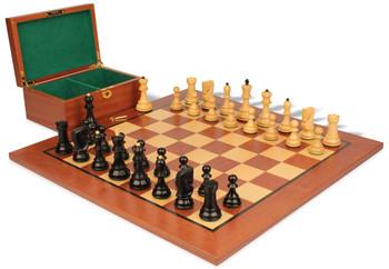 "Yugoslavia Staunton Chess Set in Ebonized Boxwood & Boxwood Mahogany Board & Box - 3.25"" King"
