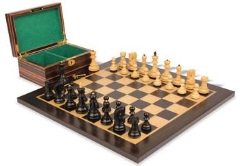 "Yugoslavia Staunton Chess Set in Ebonized Boxwood & Boxwood Macassar Ebony Board & Box - 3.25"" King"
