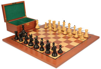 "Yugoslavia Staunton Chess Set in Ebonized Boxwood & Boxwood with Mahogany Board & Box - 3.875"" King"