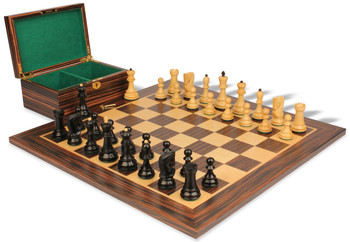 "Yugoslavia Staunton Chess Set in Ebonized Boxwood & Boxwood with Macassar Ebony Board & Box - 3.875"" King"