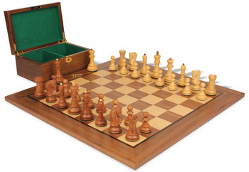 "Yugoslavia Staunton Chess Set in Golden Rosewood & Boxwood with Walnut Board & Box - 3.25"" King"