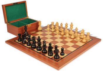 """German Knight Staunton Chess Set in Ebonized Boxwood & Boxwood with Mahogany Board & Box - 3.25"""" King"""