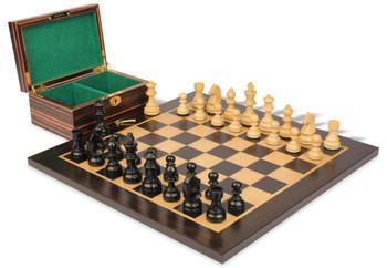 "German Knight Staunton Chess Set in Ebonized Boxwood & Boxwood with Macassar Board & Box - 3.25"" King"
