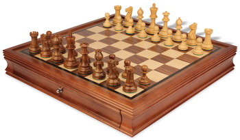 "Parker Staunton Chess Set in Golden Rosewood & Boxwood with Walnut Chess Case - 3.75"" King"