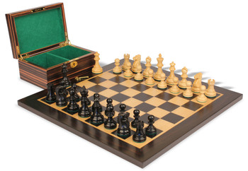 "Deluxe Old Club Staunton Chess Set in Ebonized Boxwood & Boxwood with Macassar Ebony Board & Box - 3.25"" King"
