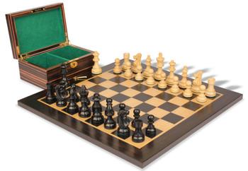 "French Lardy Staunton Chess Set in Ebonized Boxwood & Boxwood Macassar Ebony Board & Box Package - 2.75"" King"