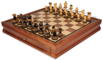 """Parker Staunton Chess Set in Burnt Boxwood with Walnut Chess Case - 3.75"""" King"""