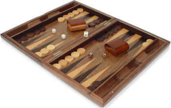 Pinwheel Design Inlaid Walnut Backgammon Set