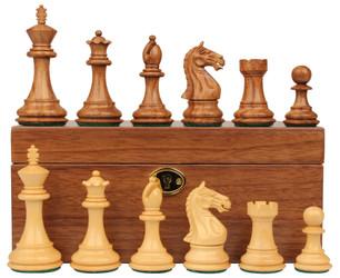 "Fierce Knight Staunton Chess Set in Golden Rosewood & Boxwood with Walnut Box - 4""  King"