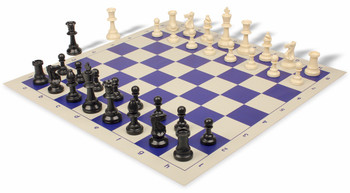 Heavy Weighted Club Plastic Chess Set & Board with Black & Ivory Pieces - Blue