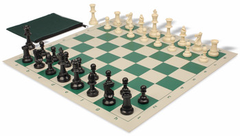 Standard Club Classroom Weighted Plastic Chess Set Black & Ivory Pieces - Green