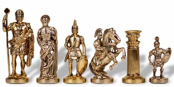 "Romans Theme Chess Set Brass & Nickel Pieces - 3.75"" Set - Replacement Brass Pawn"