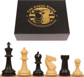 "Guardian Plastic Chess Set Black & Camel Pieces with Box - 4"" King"