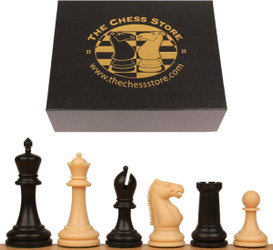 "Zukert Plastic Chess Set Black & Camel Pieces with Box - 4.25"" King"