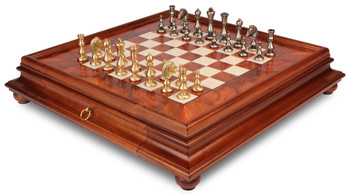 Classic Oriental Brass Chess Set with Elm Burl Chess Case
