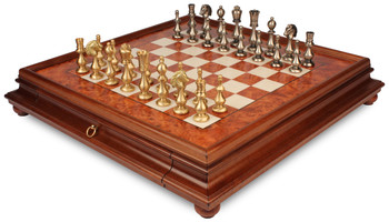 Grande Classic Oriental Staunton Solid Brass Chess Set with Elm Burl Chess Case