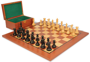 "New Exclusive Staunton Chess Set in Ebonized Boxwood & Boxwood with Mahogany Board & Box  - 4"" King"