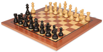 "French Lardy Staunton Chess Set Ebonized & Boxwood Pieces with Classic Mahogany Chess Board - 3.25"" King"