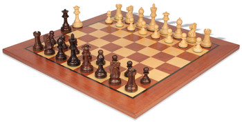 "Parker Staunton Chess Set in Rosewood & Boxwood with Classic Mahogany Chess Board - 3.75"" King"