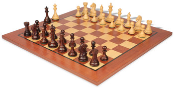 """Fierce Knight Staunton Chess Set Rosewood & Boxwood Pieces with Classic Mahogany Chess Board - 4"""" King"""