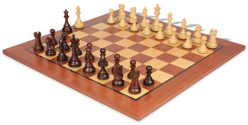 """British Staunton Chess Set Rosewood & Boxwood Pieces with Classic Mahogany Chess Board - 4"""" King"""