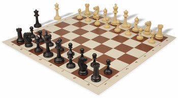Master Series Weighted Plastic Chess Set & Board with Black & Tan Pieces - Brown