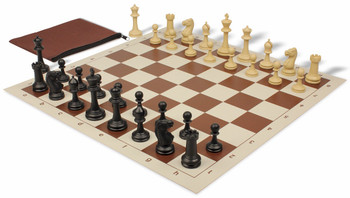 Master Series Weighted Classroom Chess Set Package Black & Tan Pieces - Brown