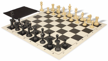 Master Series Weighted Classroom Chess Set Package Black & Tan Pieces - Black
