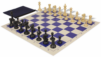 Master Series Weighted Classroom Chess Set Package Black & Tan Pieces - Blue