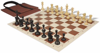 Master Series Easy-Carry Weighted Plastic Chess Set Black & Tan Pieces - Brown