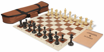 Master Series Carry-All Weighted Plastic Chess Set Black & Tan Pieces - Brown