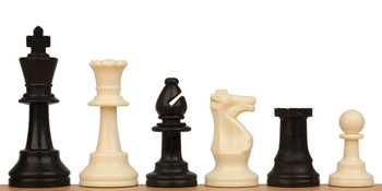 "Standard Club Plastic Chess Set Black & Ivory Pieces - 3"" King"