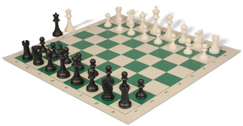 Club Tourney Series Plastic Chess Set with Board Black & Ivory Pieces - Green
