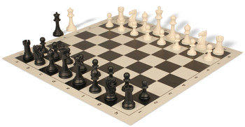 Club Tourney Series Plastic Chess Set with Board Black & Ivory Pieces - Black
