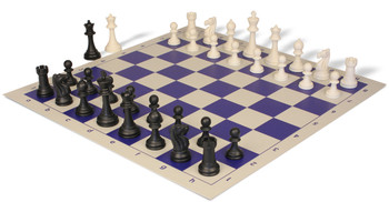 Club Tourney Series Plastic Chess Set with Board Black & Ivory Pieces - Blue