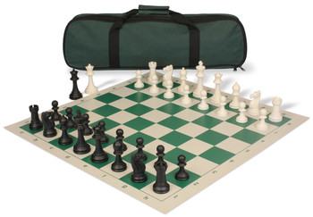 Club Tourney Carry-All Plastic Chess Set Black & Ivory Pieces - Green