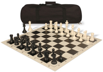 Club Tourney Carry-All Plastic Chess Set Black & Ivory Pieces - Black