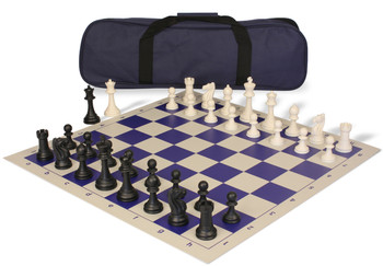 Club Tourney Carry-All Plastic Chess Set Black & Ivory Pieces - Blue