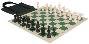 Club Tourney Series Easy-Carry Plastic Chess Set Black & Ivory Pieces - Green