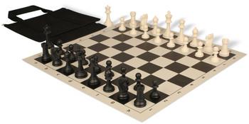 Club Tourney Series Easy-Carry Plastic Chess Set Black & Ivory Pieces - Black
