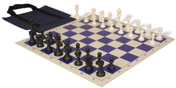 Club Tourney Series Easy-Carry Plastic Chess Set Black & Ivory Pieces - Blue