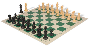 Club Tourney Series Plastic Chess Set with Board Black & Camel Pieces - Green