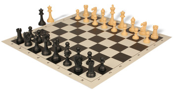 Club Tourney Series Plastic Chess Set with Board Black & Camel Pieces - Black